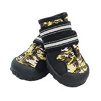 Jinfengtongxun 犬の靴、犬の雨のブーツ、ミディアムドッグ、大型犬の防水靴、犬の色のハイキングシューズ、ペット用品、迷彩イエロー(4#- 8#) 快適なスリップ (Color : Camouflage yellow, Size : 5#)