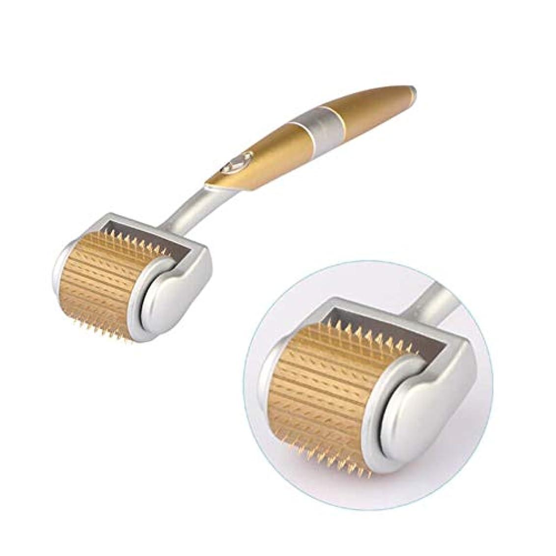 飼料ごめんなさいハグローラー針 ローラー鍼 美容用 マッサージローラー 美容成分を高浸透させ、血行を促進しローラー鍼 フェイスボディー用 充電不要 ゴールド 14cm x 2.9cm (Size : 1.5mm)