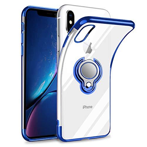 iPhone XS ケース iPhone X ケース リング付き 透明 TPU マグネット式 車載ホルダー対応 全面保護 耐衝撃 軽量 薄型 携帯カバー スクラッチ防止 滑り防止 アイフォンX/XSケース 5.8インチ専用 一体型(iPhone X/XS ケース, ブルー)