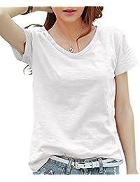 (スカイシイ) skySea T シャツ ティーシャツ 定 番 ベーシック シンプル 無 地 半 袖 V ネック 綿 コットン レディース 女 性 用 全 6 色 M L XL
