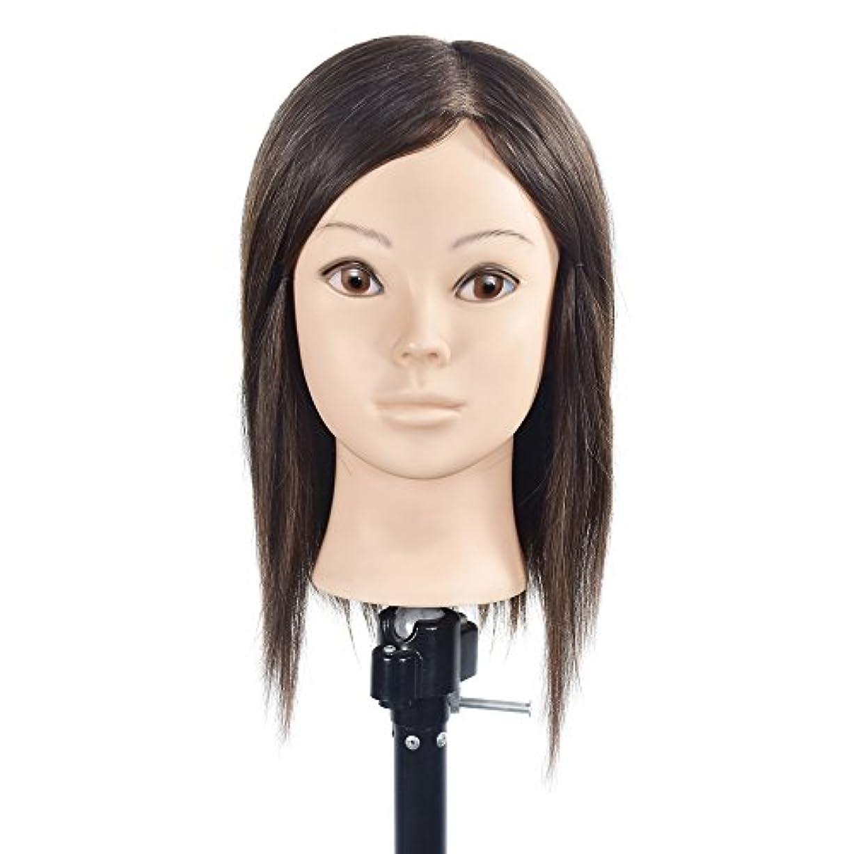 データム余韻高架トレーニングヘッド美容師100%リアルヒューマンヘアスタイリングマニアックマネキン人形(フリーテーブルクランプ付)