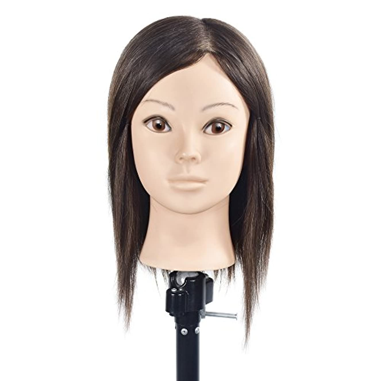知的記憶記述するトレーニングヘッド美容師100%リアルヒューマンヘアスタイリングマニアックマネキン人形(フリーテーブルクランプ付)