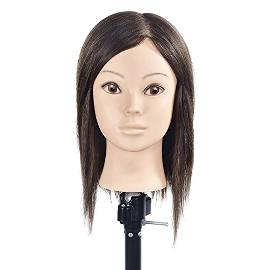 バッチページナサニエル区トレーニングヘッド美容師100%リアルヒューマンヘアスタイリングマニアックマネキン人形(フリーテーブルクランプ付)