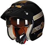 Fashion Bright Black Gold ABS Adult Bicycle Helmet Riding Electric Car Motorcycle Helmet Bicycle Mountain Bike Helmet Outdoor Riding Practical Equipment Pretty (Size : M)