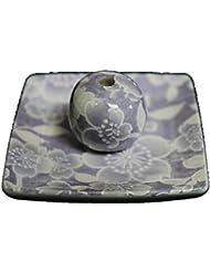 桜友禅 (紫) 小角皿 お香立て 陶器 ACSWEBSHOPオリジナル