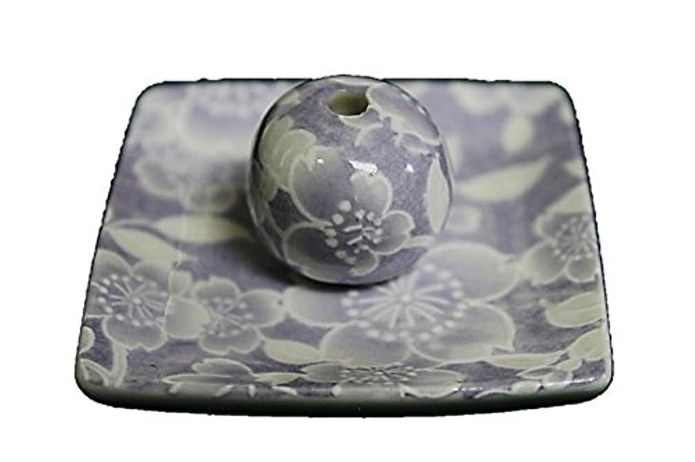 中絶ペルソナ人形桜友禅 (紫) 小角皿 お香立て 陶器 ACSWEBSHOPオリジナル