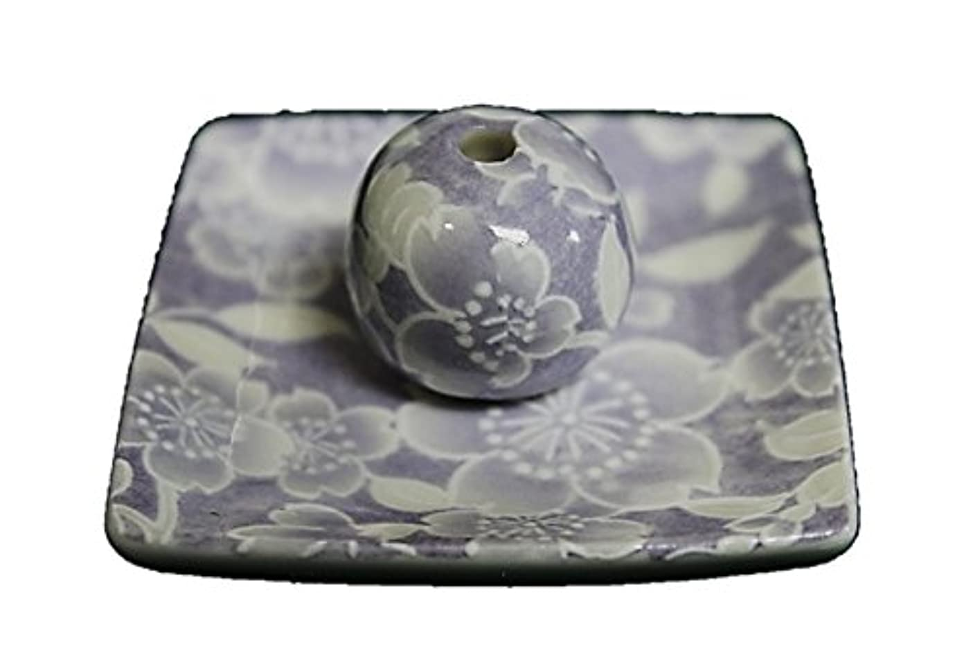 ヒゲクジラ施しアスリート桜友禅 (紫) 小角皿 お香立て 陶器 ACSWEBSHOPオリジナル