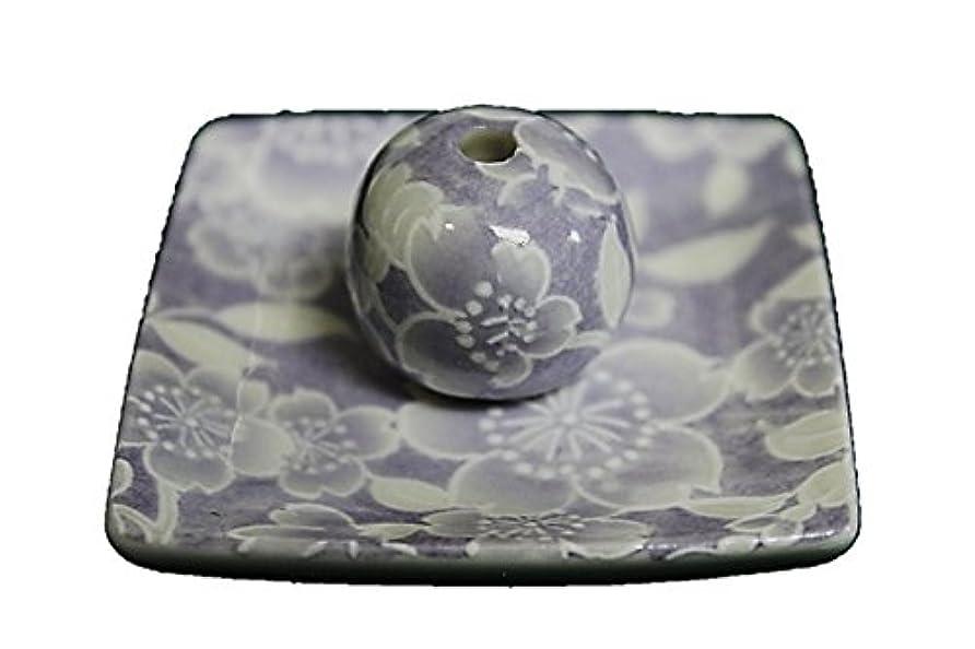 マッサージ襟松桜友禅 (紫) 小角皿 お香立て 陶器 ACSWEBSHOPオリジナル