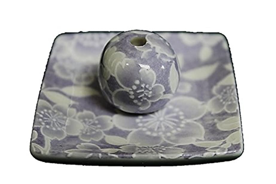 横吸収するみなさん桜友禅 (紫) 小角皿 お香立て 陶器 ACSWEBSHOPオリジナル