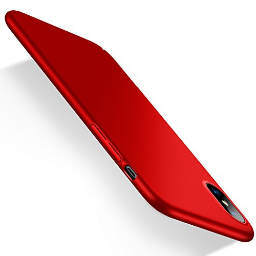 iPhoneXケース, Humixx 超スリム 耐衝撃 指紋防止 レンズ保護 赤(アイフォンXケース,レッド)【ピッタリなカットアウト】[Skin Series]