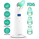 Blackhead Remover, Comedo Vacuum Suction Remover, HOMFUL Comedo/Acne/Blackhead Suction Facial Cleaner for All Skin Types, Blackhead Remover of 4 Multi-functional Probes and 5 Adjustable Suction(Green)