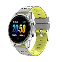 スマートな屋外の腕時計、スポーツのブレスレットの2色のシリコーンの腕時計バンドの金属ボディ IP67 防水タッチパネルすべてのための複数のスポーツモード,Yellow
