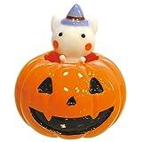 かわいい手作り ガラス細工 ハロウィン かぼちゃ入り シロネコ CYK1845