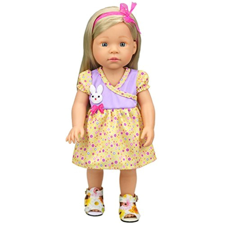 【ノーブランド品】アメリカンガール人形用 16インチ 花柄 Vネックドレス 人形の飾り 贈り物