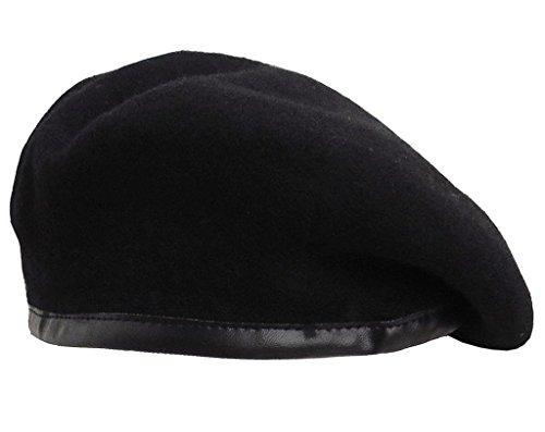 (オチビ) OTIBIH ベレー帽 ミリタリータイプ パイピング ベレー 秋冬 黒 アーミー サイズ調節 レディース F01-16LHT-18BKM