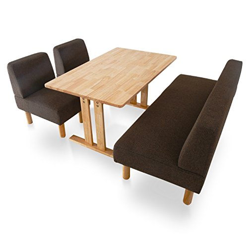 LOWYA (ロウヤ) ソファダイニングセット ダイニングセット ダイニングテーブル 無垢材 木製天板 角丸 幅120 奥行75cm コンパクト ダークブラウン おしゃれ 新生活