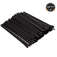 Disposable Plastic Spoon Drinking Straws, Black, 9.5 inches, Pack of 100 [並行輸入品]