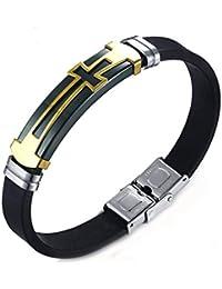 Aooaz ステンレス ブレスレット 腕輪 チタン メンズ バングル カフ クロス ブラック ゴールド 20.5cm