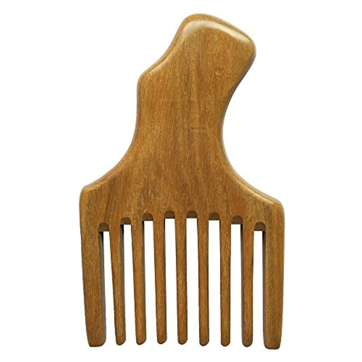 BeneAlways Hair & Beard Pick/Comb ? Made From One Whole Piece of Natural Green Sandalwood ? Fantastic Handle (...