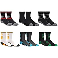 Sock House Co. Boys Crew Socks (6 Pair) - Stripes, Basketball, Soccer, Football Sports - Cushioned Athletic Socks