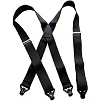 Holdup Suspender Company XL Black Ski-Up Suspenders X-back with black patented gripper clasp