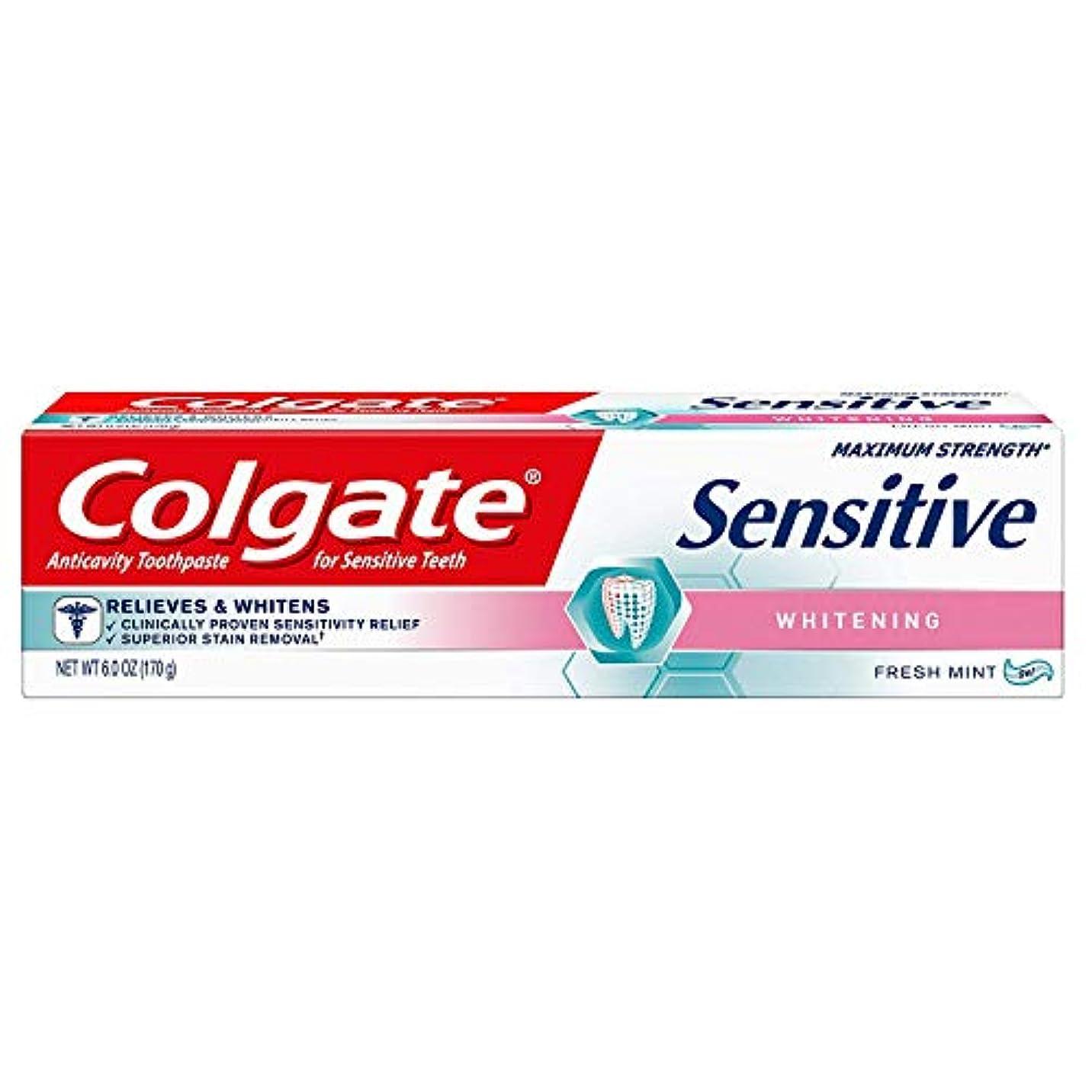 支配する単語パトロンColgate 敏感ホワイトニング最大強度の歯磨き粉フレッシュミント、フレッシュミント6オズ(3パック)
