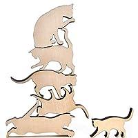木製 猫 積み重ね ボード ゲーム 教育 積み木 おもちゃ 12ピース 猫好き向け