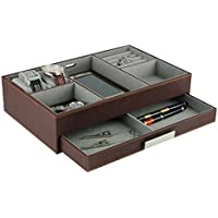 Brown Leatherette Valet Tray Desk Dresser Drawer Coin Case Catch-all for Keys, Phone, Jewelry, Watches, and Accessories