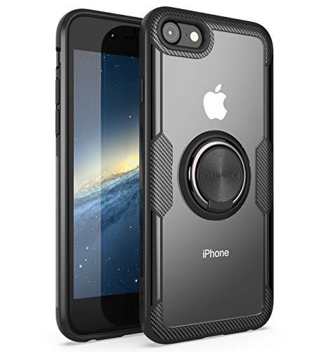 iPhone7 /8 ケース リング スマホケース 背面クリア 360度回転 リング付き 超薄型 スリム ゴム外枠 軽量 耐衝撃 すり傷防止 (iPhone7 /8, Black)