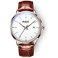 OLEVS Automatic Mechanical Watch for Men, 42mm Fashion Ultra Thin Waterproof with Brown Leather Band Wrist Watches (Gold)