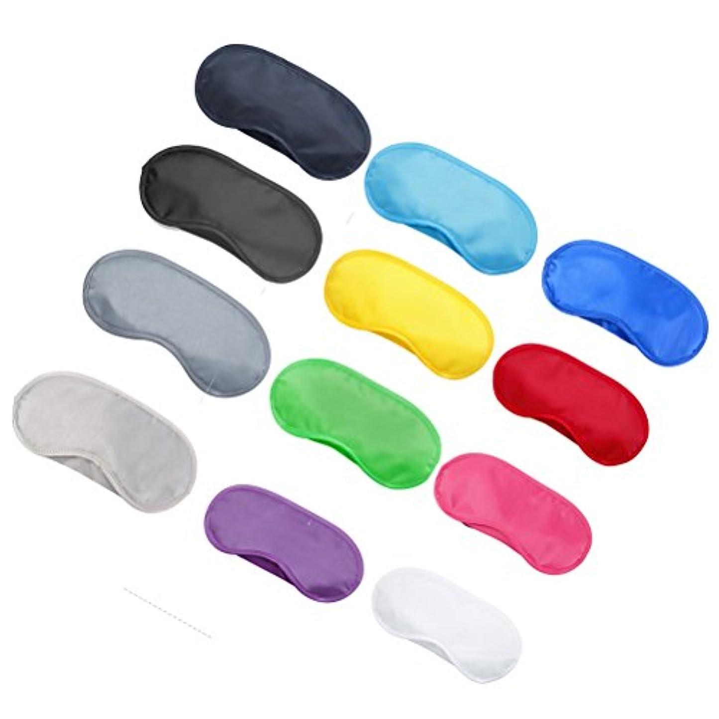 規制パンサービザSUPVOX 旅行作業瞑想のためのアイパッチアイシェードカバーを眠っている12本の多色アイマスク