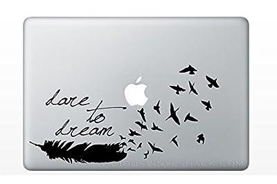 MacBook 対応 アートステッカー Dare to Dream 夢に向かって羽ばたく 並行輸入品 貼り付け日本語説明付き 13, 15 or 17 インチ air pro retina 対応 (黒)
