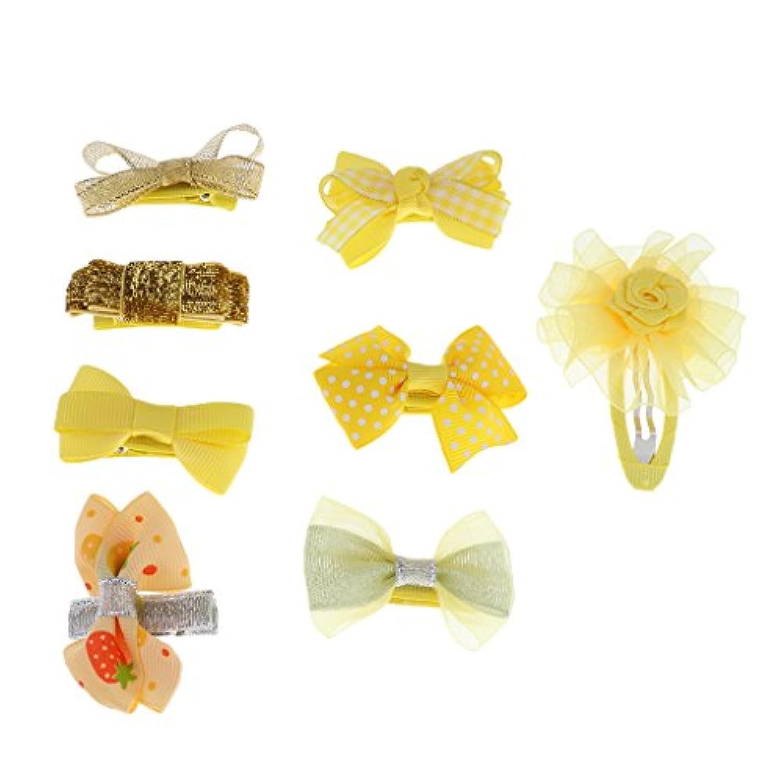 Lovoski リボン ドット柄 ちょう結び 女の子 キッズ ヘアクリップ ヘアゴム 髪飾り 8個セット 全5色
