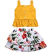Oklady Toddler Baby Girl Summer Outfits Ruffle Strap Tops with Floral Skirt Clothes Set