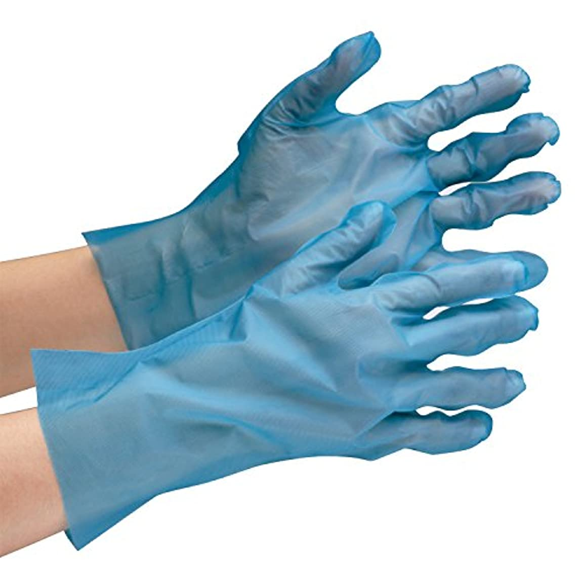 強打新聞腐ったミドリ安全 ポリエチレン製ディスポ手袋 ベルテ576 ブルー 200枚入