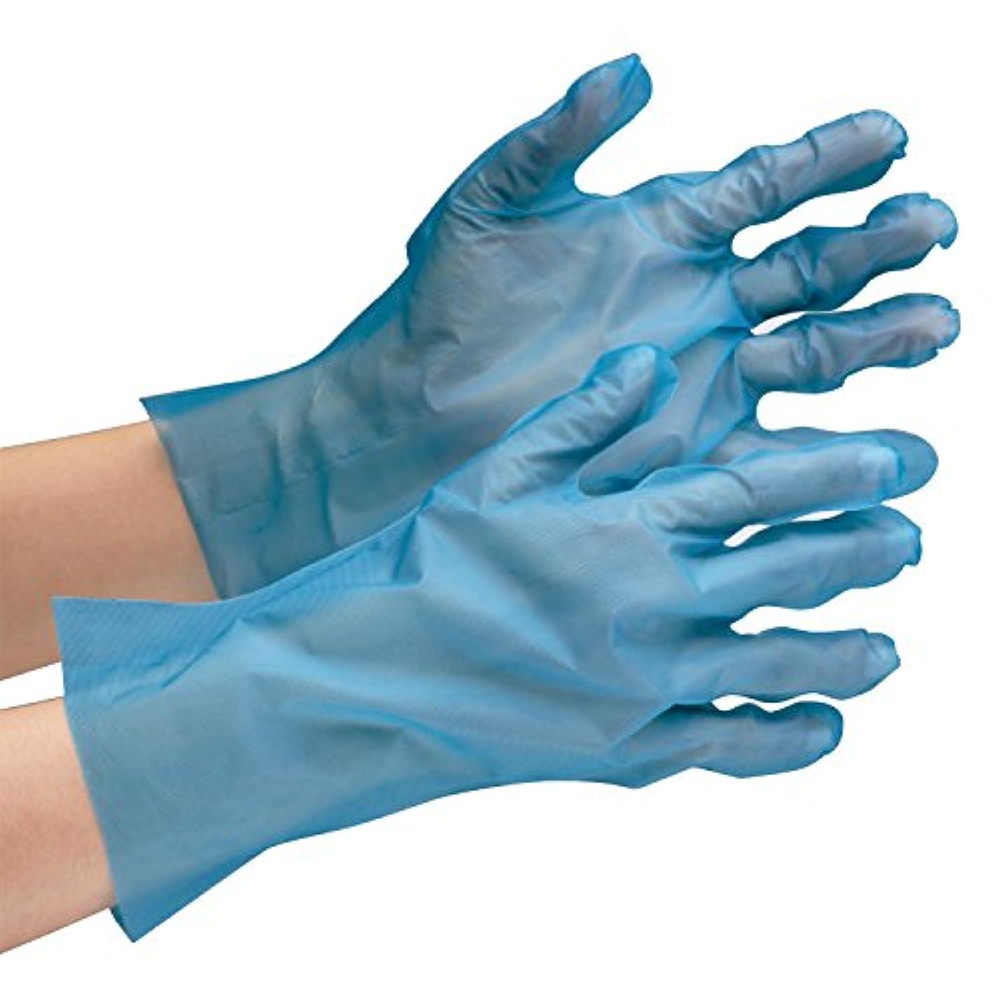 毎日イヤホン払い戻しミドリ安全 ポリエチレン製ディスポ手袋 ベルテ576 ブルー 200枚入
