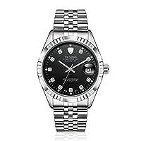 TEVISE 629-001ビジネススタイルメンズ自動機械式時計針カレンダー高級防水ステンレススチール製腕時計(シルバー&ブラック)