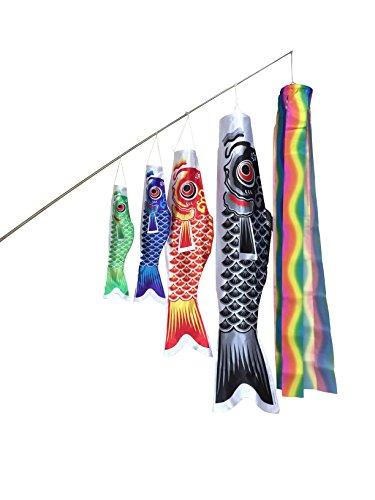 angelaicos鯉のぼり 六点セット 端午の節句 初節句 出産祝い 子供の日祝い お庭用 ベランダ用 両用 飾り 高品質  (1.5M,4)