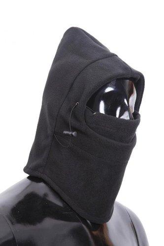 【おまけ付】フリース素材防寒フェイスマスク フード付きフリース防寒ネックウォーマー フェイスマスク ブラック/OV112-2