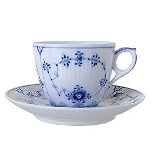 ロイヤルコペンハーゲン(Royal Copenhagen) 101 ブルーフルーテッド・プレイン(プレーンレース) 071 コーヒーカップ&ソーサー [並行輸入品]