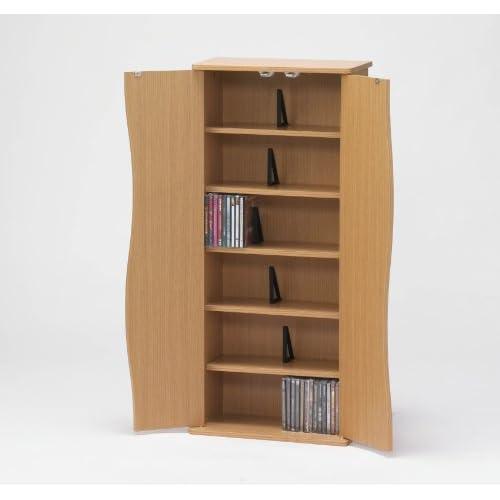 ドアー付きCD/DVD/文庫本/コミック本キャビネット CD最大198枚収納可 88cm高 NATURAL