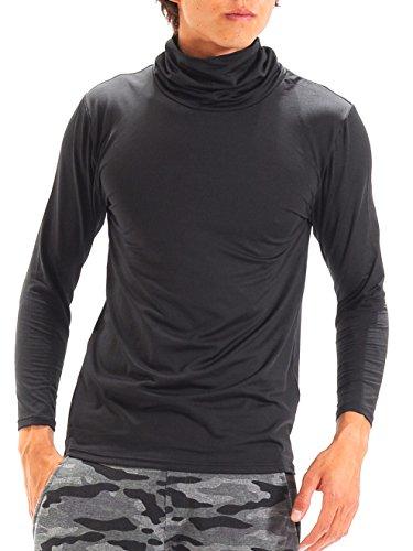 (スペイド) SPADE ロングTシャツ メンズ インナー 裏起毛 発熱保温繊 Tシャツ 【w854】(M,タートルネック×ブラック)
