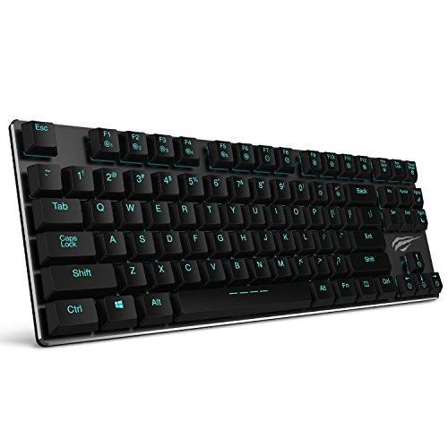 HAVITメカニカルキーボード低背 青軸Kailh最新のロープロファイル技術 有線87キーN-キーロールオーバー(黒)