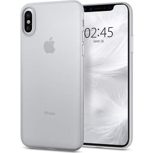 【Spigen】 スマホケース iPhone X ケース レンズ保護 超薄型 超軽量 エアースキン 057CS22115 (ソフト・クリア)