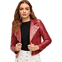 MAKEMECHIC Women's PU Moto Jacket Zipper Faux Leather Biker Short Coat Jacket