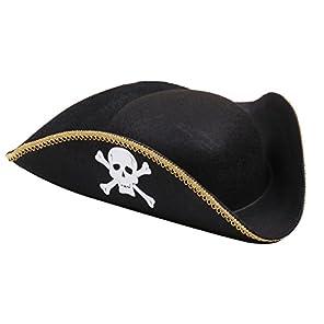 TiproPechka 海賊 帽子 三角帽子 ハロウィン コスプレ パーティー (1個)