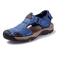 メンズシューズレザーサンダルフラットビーチウォーキングハイキングアスレチックとアウトドアノンスリップソフトボトムカジュアルシューズ夏の川の靴アスレチックノンスリップ通気性の広いカジュアルシューズ, blue, 42