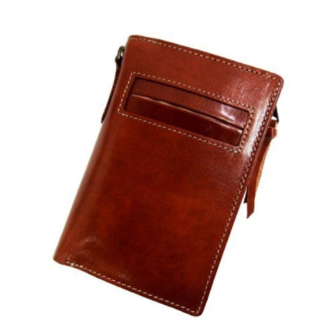 使役環境保護主義者準備ができて[ Maturi マトゥーリ ]  かっこいい二つ折り財布 (プッチーニ イタリアンレザー L字ファスナーMR-021) (ライトブラウン)