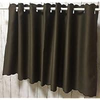 cloth shop 布や 1級遮光カフェカーテン 小窓用 断熱 UVカット 目隠し 幅100x丈45cm ブラウン
