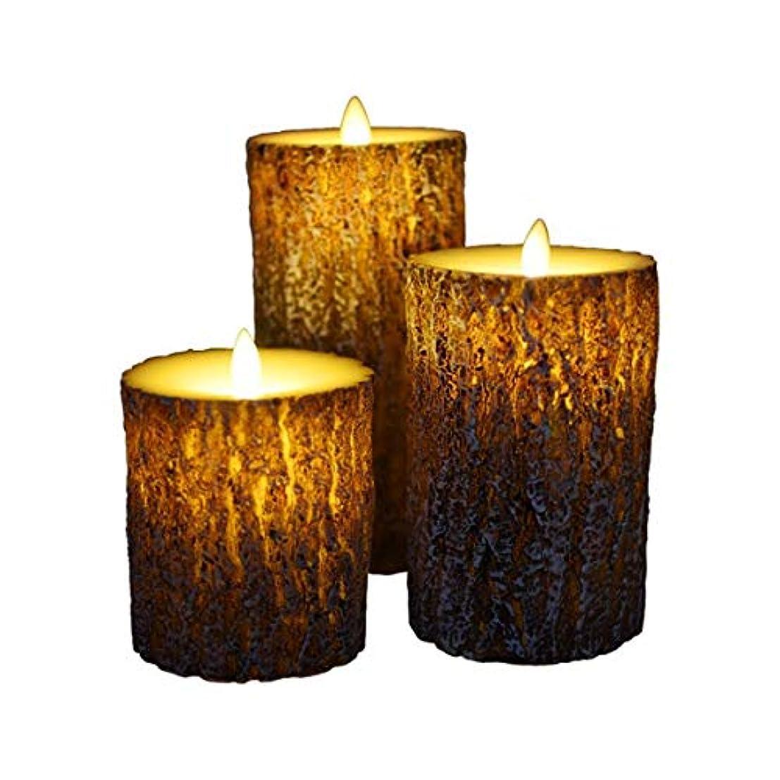 適合マニアックオーバーコートフレームレスキャンドルちらつきLED炎、松の樹皮の外観バッテリー駆動、パーティーウェディングデコレーション(3パック),8.5X15cm